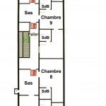 Plan du deuxième étage du Gîte du Lac de Monampteuil